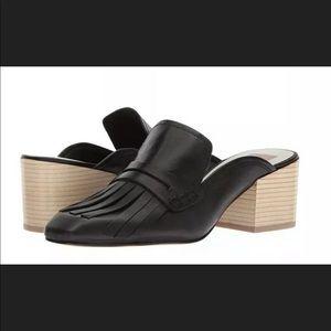 DOLCE VITA Katina Black Leather Fringed Mules 6.5